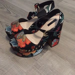 Topshop platform heels, embroidered flowers
